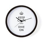 Keep Calm Dive On Wall Clock
