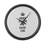 Keep Calm Dive On Large Wall Clock
