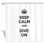 Keep Calm Dive On Shower Curtain