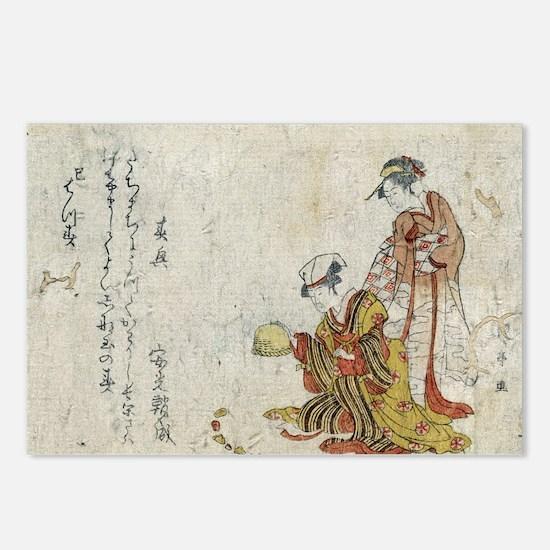 Yoshiwara Sparrow - anon - 1797 - woodcut Postcard