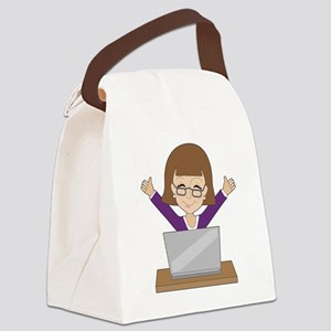 Business Lady Laptop Canvas Lunch Bag