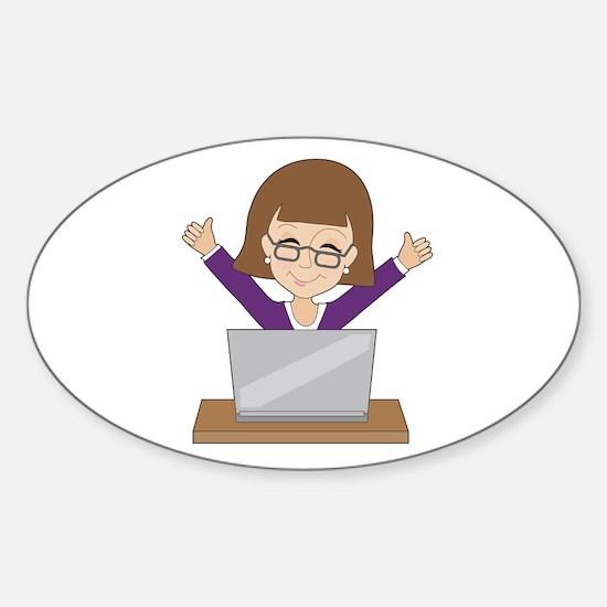 Business Lady Laptop Sticker (Oval)