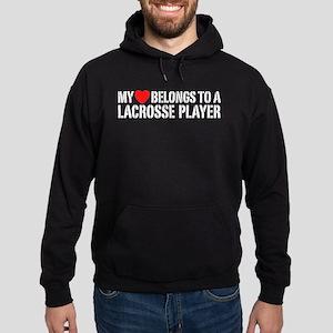 My Heart Belongs To A Lacrosse Player Hoodie (dark