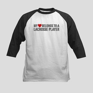My Heart Belongs To A Lacrosse Player Kids Basebal