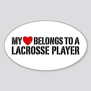 My Heart Belongs To A Lacrosse Player Sticker (Ova