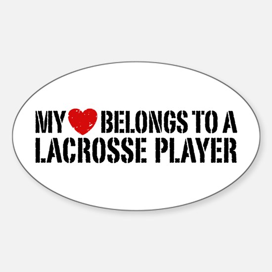 My Heart Belongs To A Lacrosse Player Decal