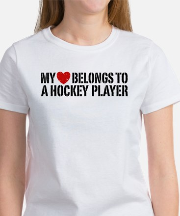 My Heart Belongs To A Hockey Player Women's T-Shir