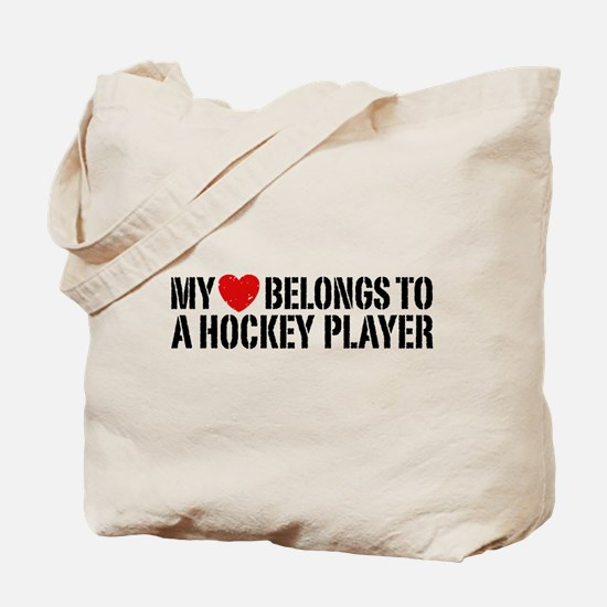 My Heart Belongs To A Hockey Player Tote Bag