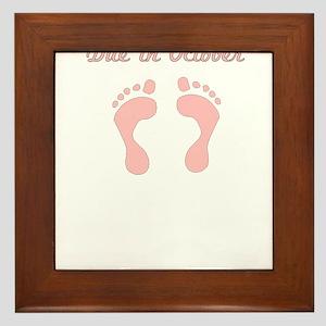 DUE IN October PINK BABY FEET Framed Tile