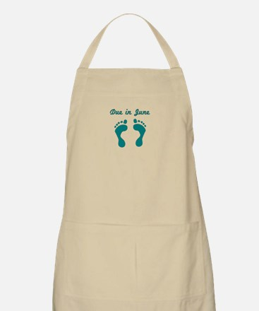 DUE IN JUNE BLUE BABY FEET Apron