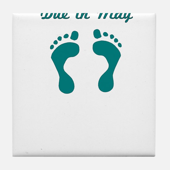 DUE IN MAY BLUE BABY FEET Tile Coaster