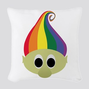 Rainbow Troll Woven Throw Pillow