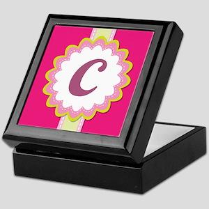 Monogram Alphabet Letter C Pink Keepsake Box