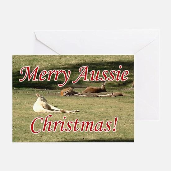 Australian Christmas Cards, Kangaroos, 10 Pk