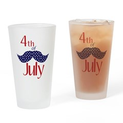 July 4th Mustache Drinking Glass