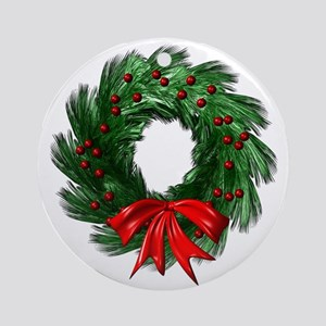 Wreath and Bow Ornament (Round)