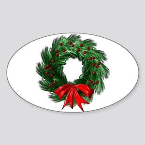 Wreath and Bow Oval Sticker