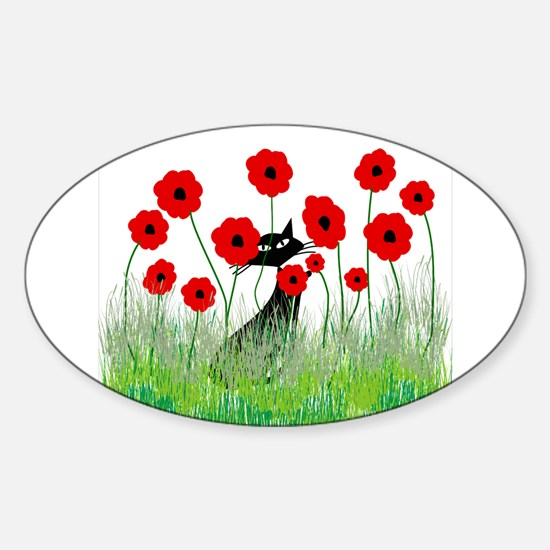 Whimsical Cat Sticker (Oval)