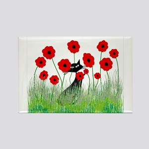 Whimsical Cat Rectangle Magnet