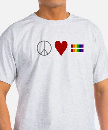 peaceloveequality for black T-Shirt