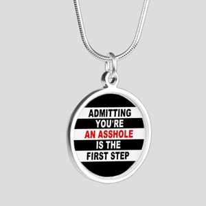 AA The First Step is... Silver Round Necklace