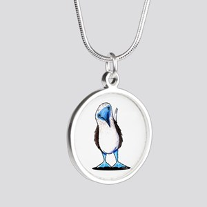 Blue Footed Booby Silver Round Necklace