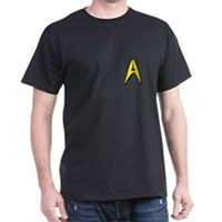 Star Trek Captains Badge Chest Dark T-Shirt