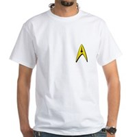 Star Trek Captains Badge Chest White T-Shirt