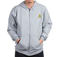 Star Trek Captains Badge Chest Zip Hoodie