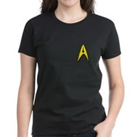Star Trek Captains Badge Chest Women's Dark T-Shir