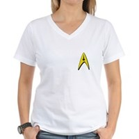 Star Trek Captains Badge Chest Women's V-Neck T-Sh