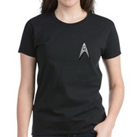 Star Trek Engineer Badge Chest Women's Dark T-Shir