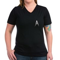Star Trek Engineer Badge Chest Women's V-Neck Dark