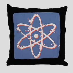 Atom Retro Distressed Throw Pillow
