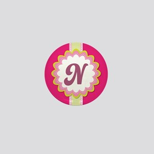 Monogram Alphabet Letter N Pink Mini Button