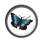 Blue with Red Butterfly Wall Clock