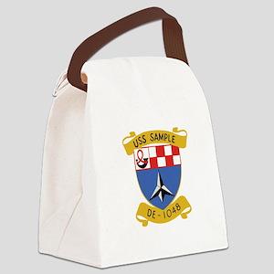 USS SAMPLE DE1048 Ships crest Canvas Lunch Bag
