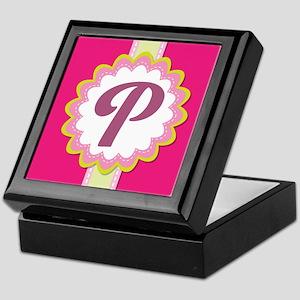 Monogram Alphabet Letter P Pink Keepsake Box