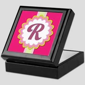 Monogram Alphabet Letter R Pink Keepsake Box