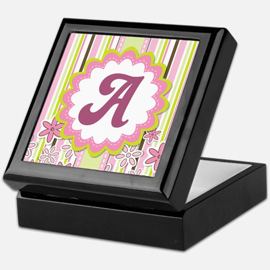 Pink Monogram Alphabet Letter A Keepsake Box