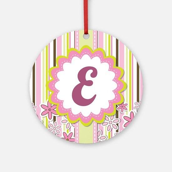 Pink Monogram Alphabet Letter E Ornament (Round)