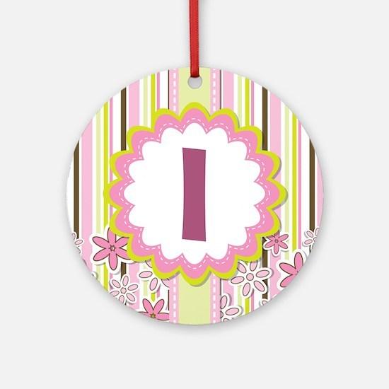 Monogram Alphabet Letter I Pink Ornament (Round)