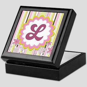 Monogram Alphabet Letter L Pink Keepsake Box