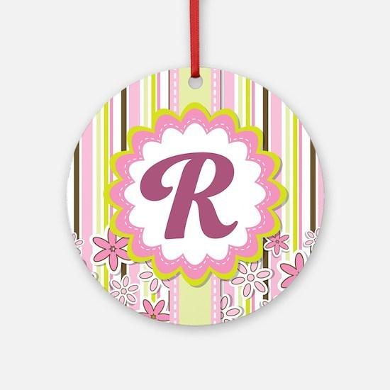Monogram Alphabet Letter R Pink Ornament (Round)