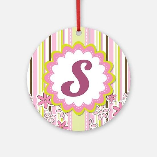 Monogram Alphabet Letter S Pink Ornament (Round)