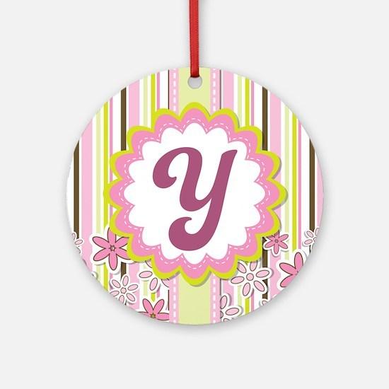 Monogram Alphabet Letter Y Pink Ornament (Round)