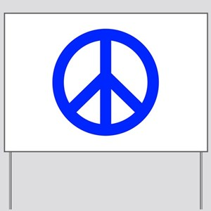 Blue White Peace Sign Yard Sign