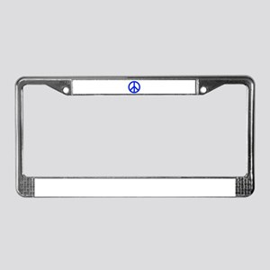 Blue White Peace Sign License Plate Frame