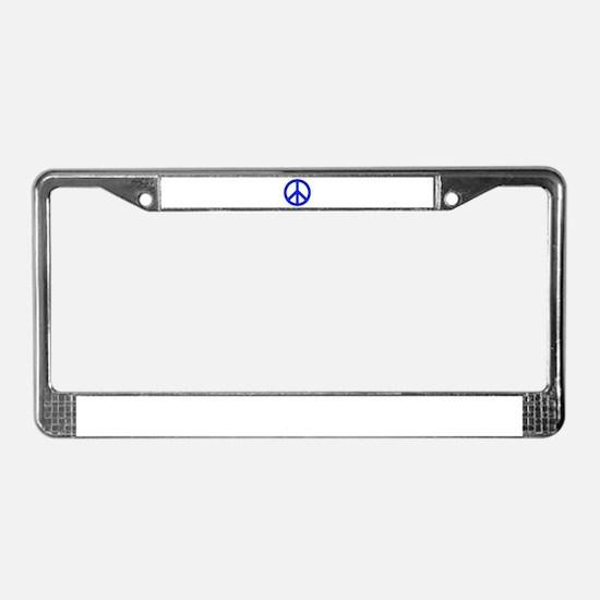 Blue White Peace Sign License Plate Frame