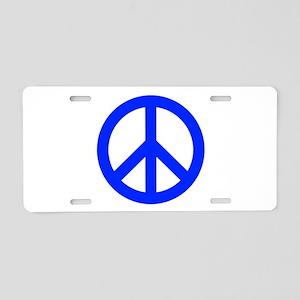 Blue White Peace Sign Aluminum License Plate